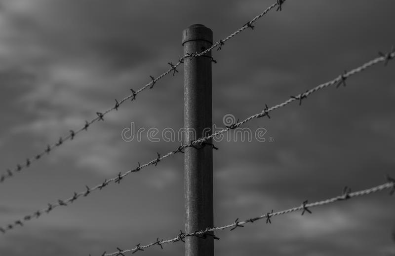 Oppressive barb wire fence. The symbolism of the barbed wire fence represents oppression, imprisonment, authority stock photography