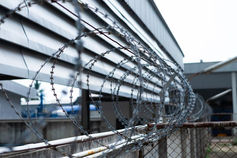 Barbed wire fences installed on the wall to protect the area stock photos