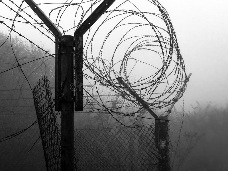 Barbed wire and fog from military base. Net with barbed wire and fog holes from a military base royalty free stock images