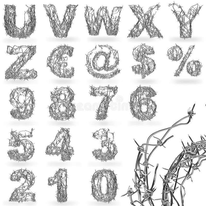 Barbed wire font vector illustration