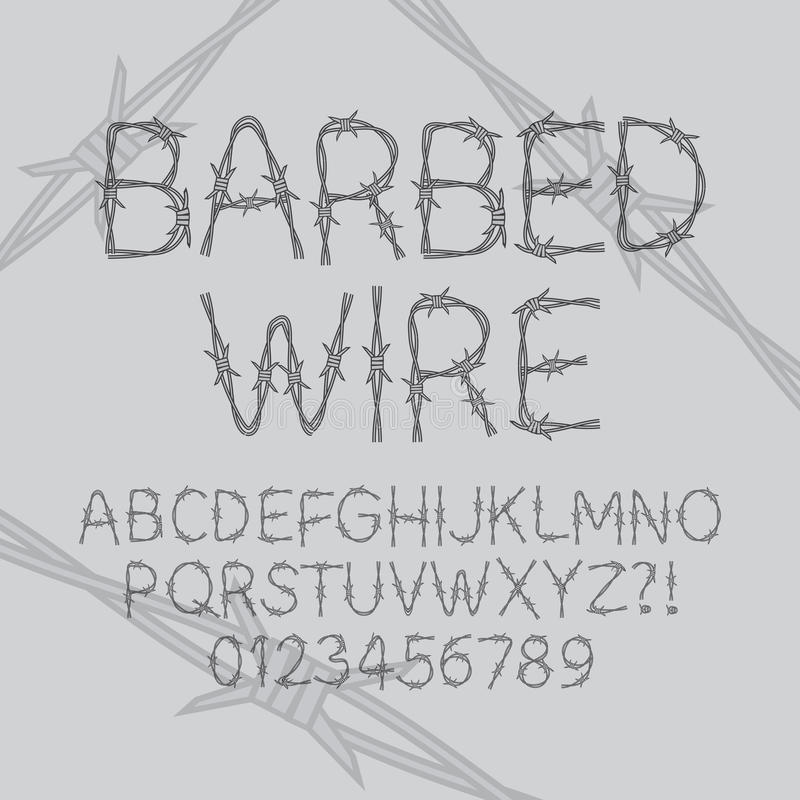 Barbed Wire Font and Numbers royalty free illustration