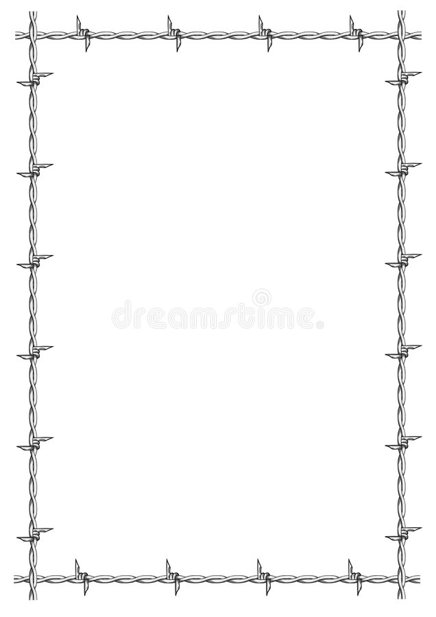 Barbed wire frame vector stock illustration