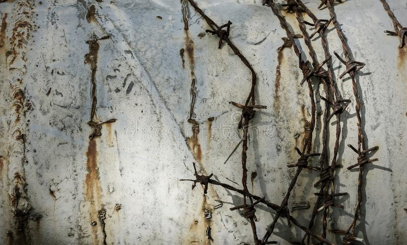 Barbed wire on grunge metal background stock photo