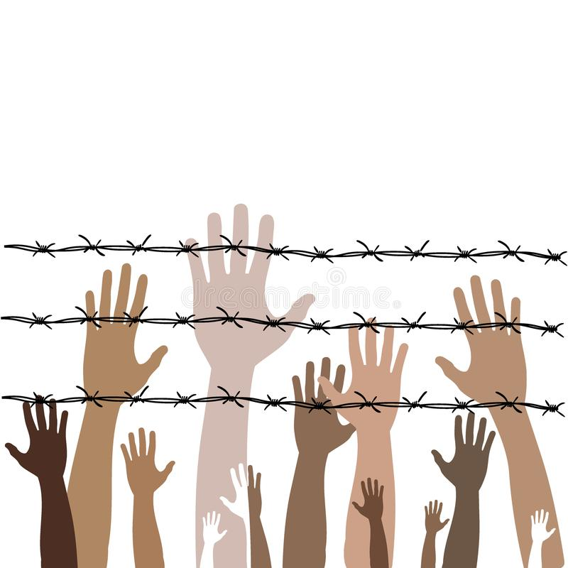 Barbed wire with hands. Illustration on the theme of dictatorship and the Holocaust. Console camp. Barbed wire with hands. Illustration on the theme of stock illustration