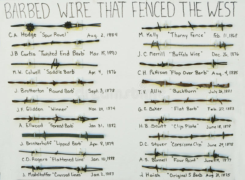 Barbed Wire History. The history of 18th century barbed wire that fenced the west royalty free stock photos