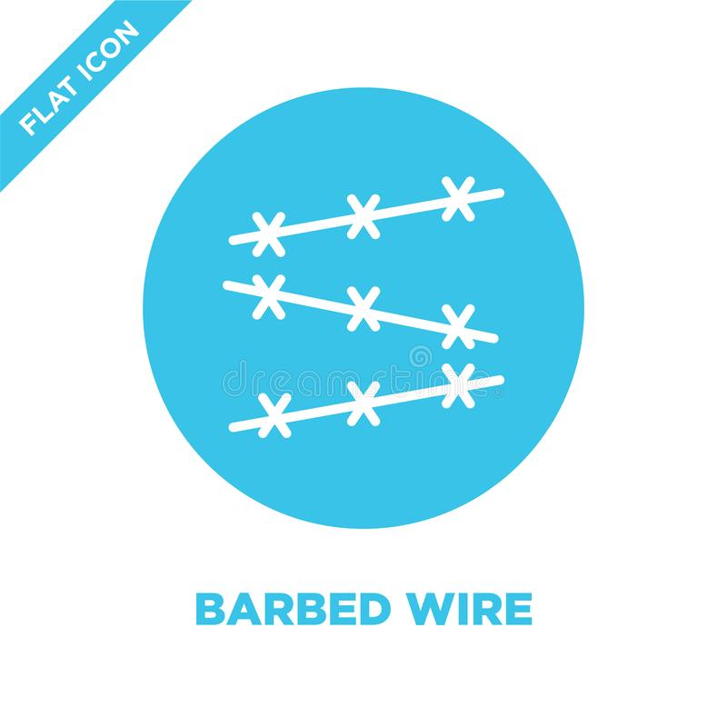 barbed wire icon vector from military collection. Thin line barbed wire outline icon vector  illustration. Linear symbol for use vector illustration