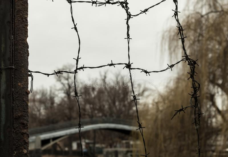 Barbed Wire. Industrial Background Security Territory, Part Of The ...