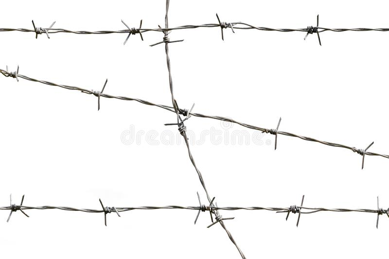Barbed wire, isolated on a white background. Defend, forbid, boundary, knot, obstacle, fence, iron, security, protection, pattern, line, metal, border, prison stock photos