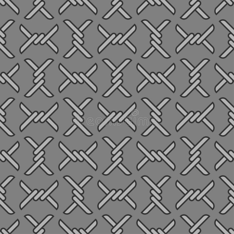 Barbed wire pattern seamless. barbwire background. Barrage vector illustration.  royalty free illustration