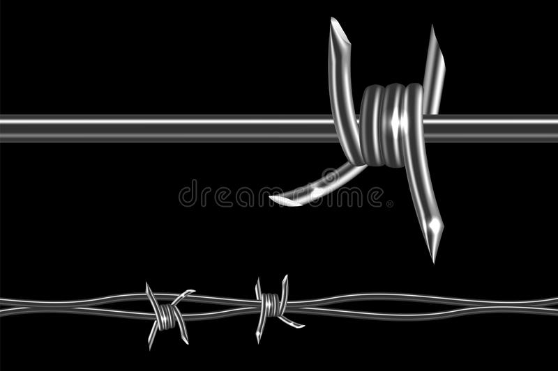 Barbed wire realistic. Barbed wire - symbol restraint, restricted area, refer to the boundaries of territory. Barb wire realistic 3d vector element isolated on stock illustration