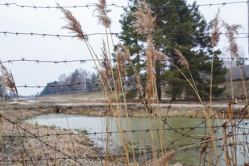 Barbed wire river fencing. Dangerous closed area stock images