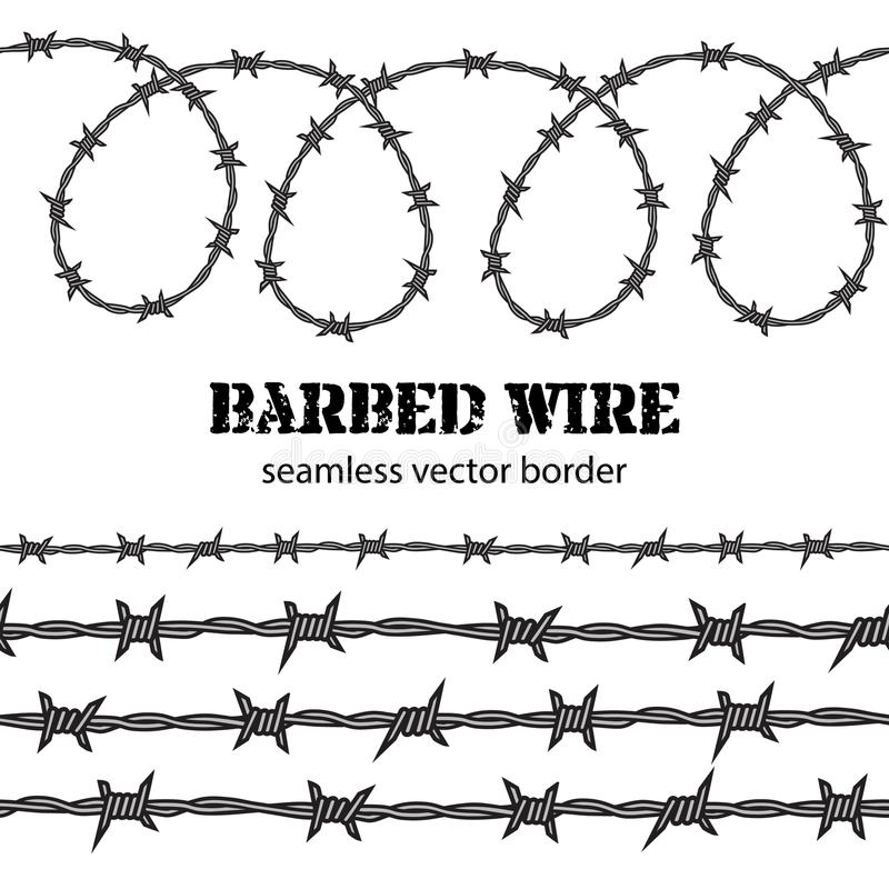 Barbed wire seamless border. Vector. Barbed wire seamless border. Desighn for political poster. Protest against violence and injustice, struggle for freedom vector illustration
