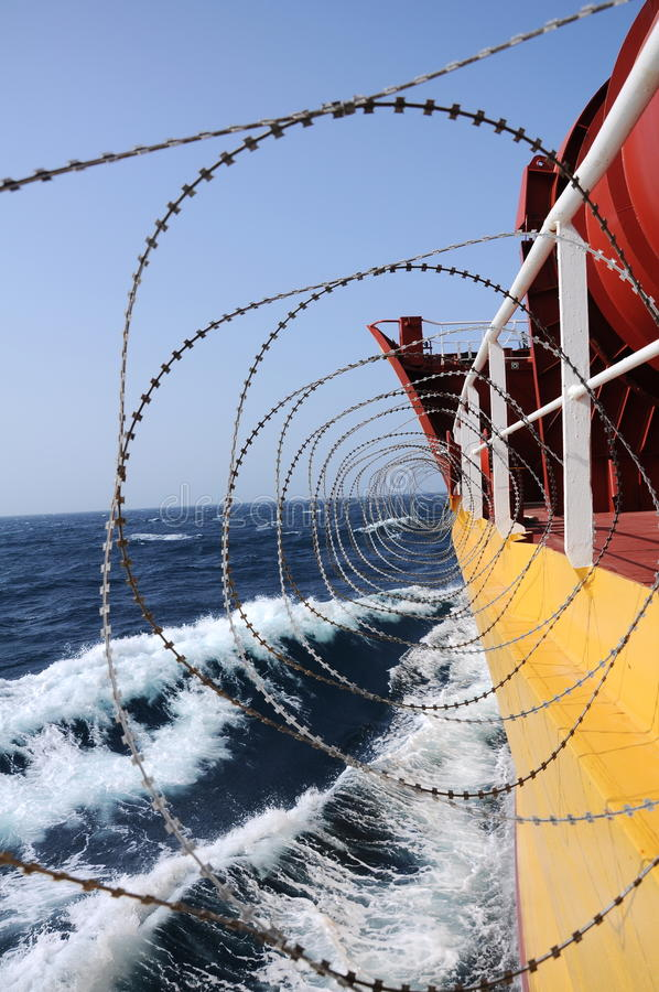 Barbed Wire On Side Of Ship Stock Images