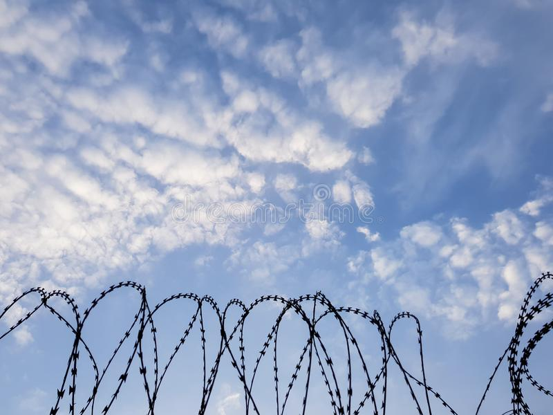 Barbed wire coils silhouette against the blue sky - security fence, prison, incarceration or detention background kground. Coils of razor wire, against the sky royalty free stock image