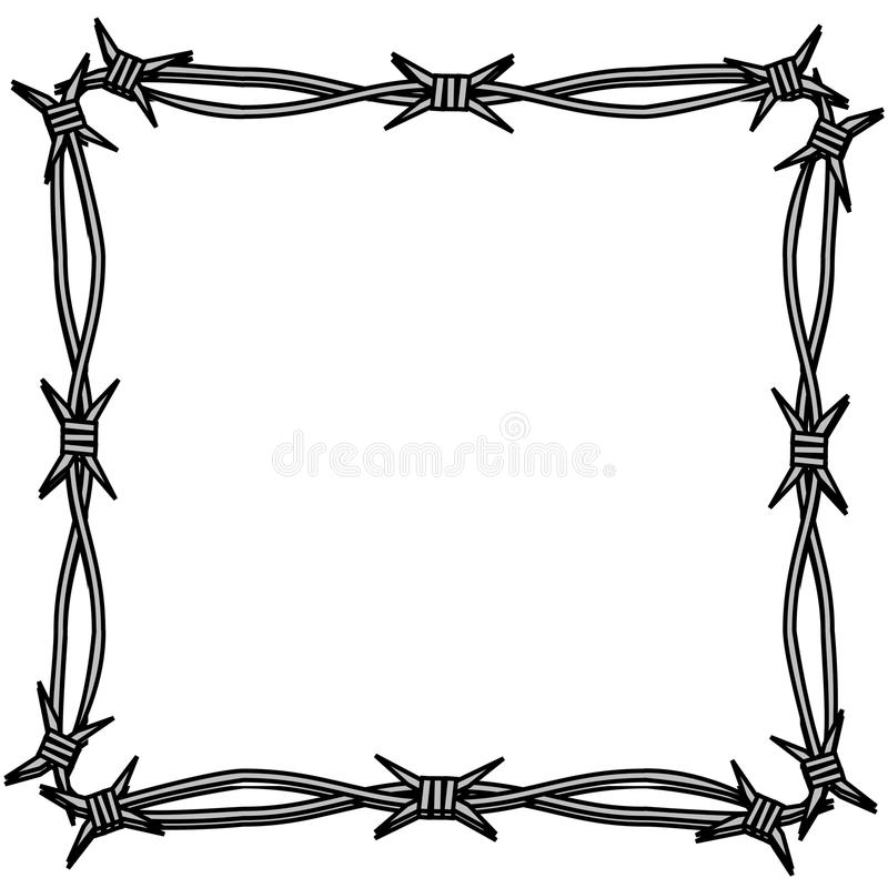 Barbed wire simple frame stock illustration. Illustration of ...
