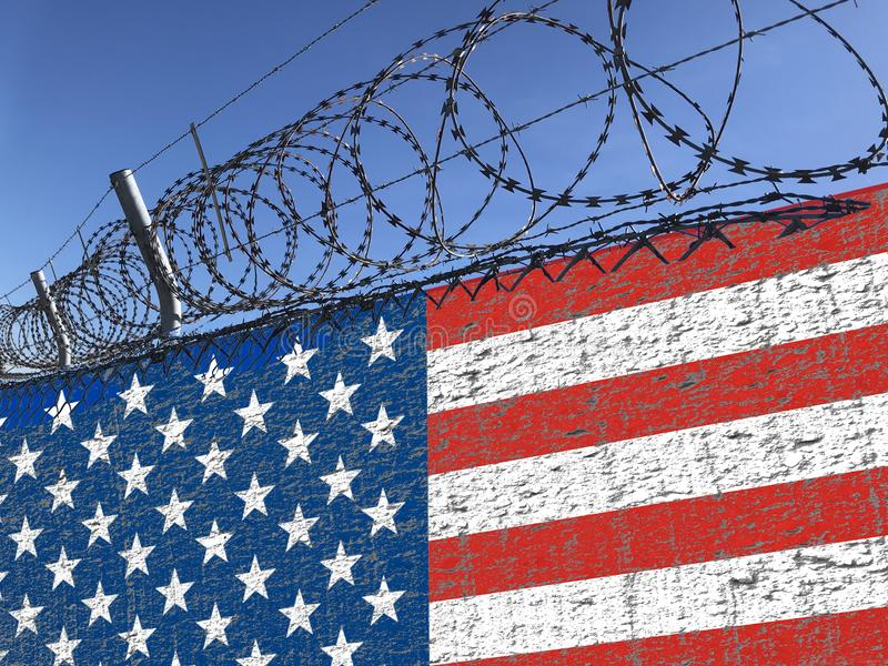 Wall with ragged American flag and barbed wire steel on top illustrating the immigration from Mexico issues. Concept image. stock image