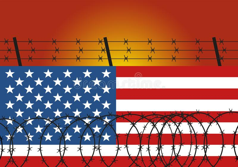 Barbed wire steel on wall made from the american flag. Immigration from Mexico illustration. Concept illustration. stock illustration