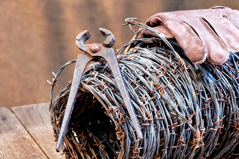 Barbed wire. Still life with barbedwire and old cutter stock photo