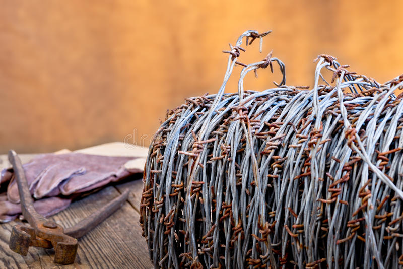 Barbed wire. Still life with barbedwire and old cutter stock photos