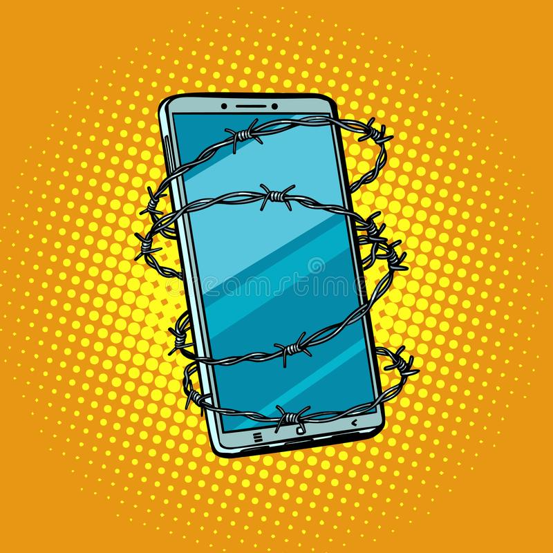 Barbed wire and telephone. concept of freedom online Internet ce vector illustration