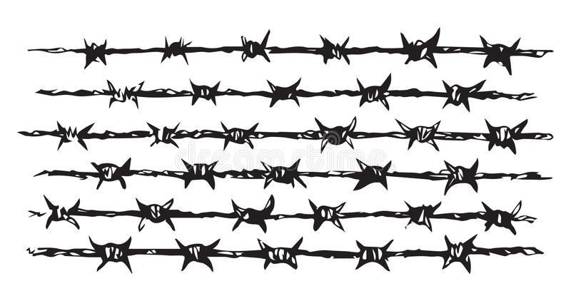 Barbed Wire. Vector Drawing Stock Vector - Illustration of army ...