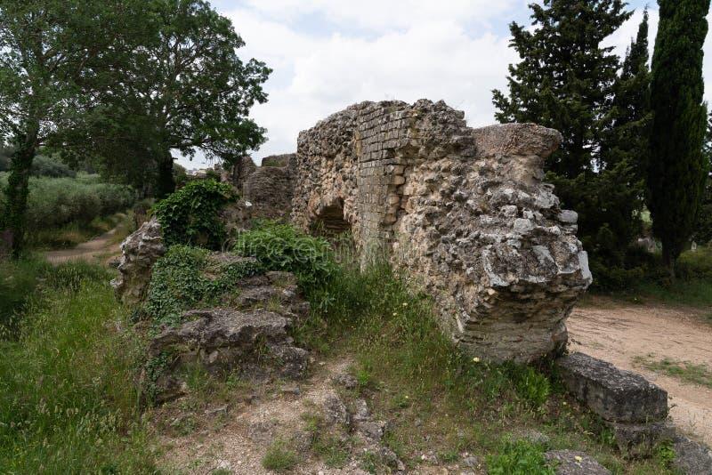 Barbegal ruin of roman Aqueduct stock photos