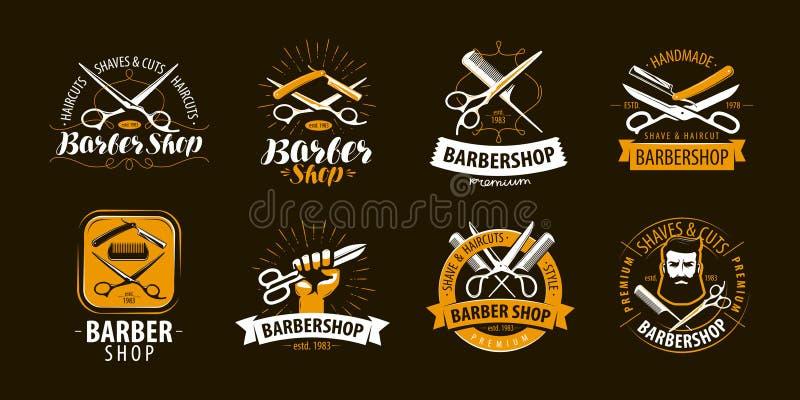 Barbeiro, grupo de etiquetas ou emblemas Vetor ilustração do vetor