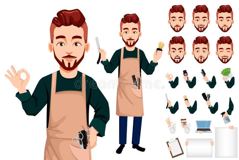 Barbeiro mestre, personagem de banda desenhada considerável ilustração stock