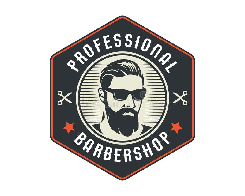 Barbeiro profissional Logo Badge Emblem da barbeação próxima do cavalheiro do vintage ilustração do vetor