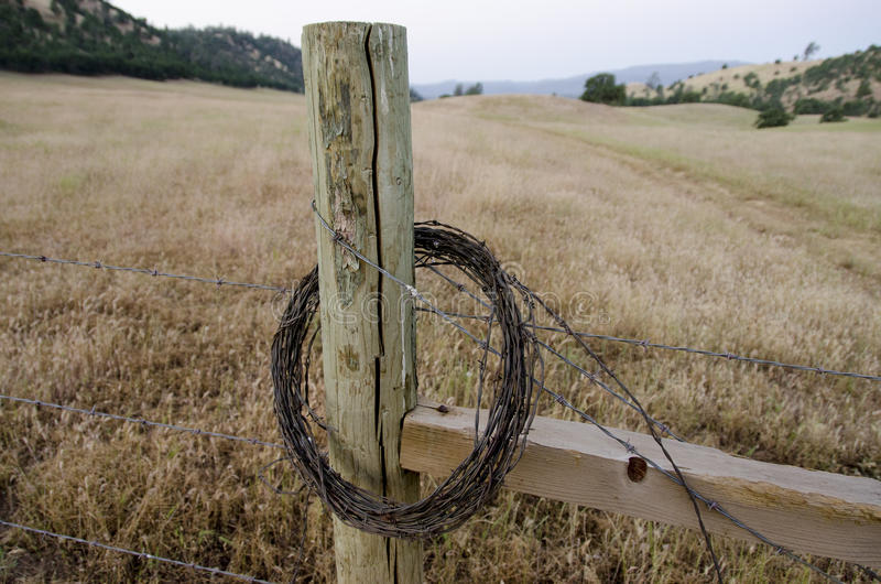 Barbelé roulé sur un poteau de frontière de sécurité photo libre de droits