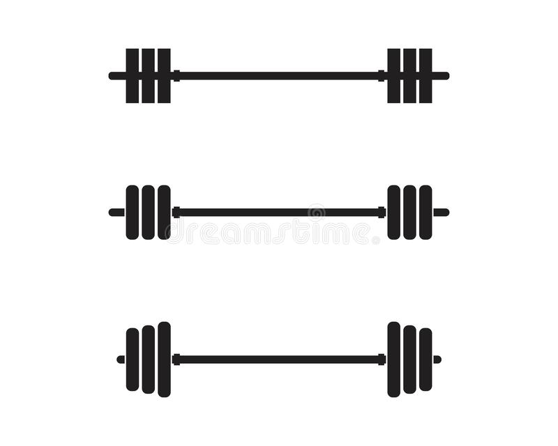 Barbel, Dumbbell Gym Icon Logo template. Gym Badge, Fitness Logo Design barbell vector weight isolated sport lifting equipment athletic health strength stock illustration