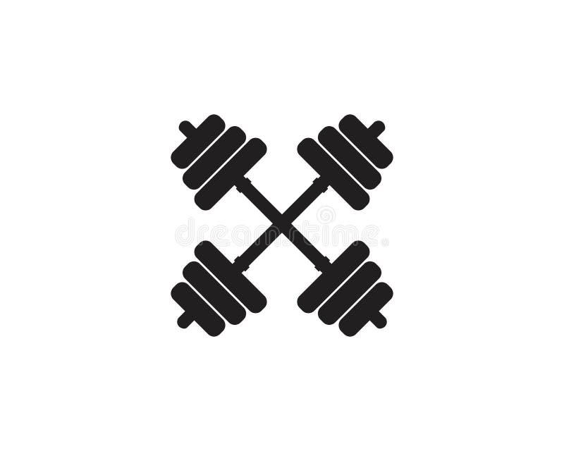 Barbel, icona Logo Template della palestra della testa di legno illustrazione vettoriale