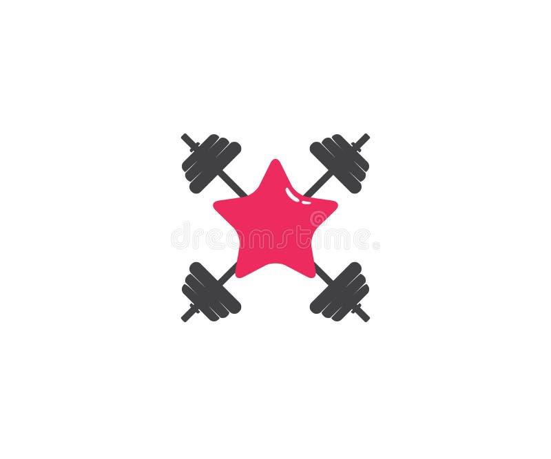 barbel sprawności fizycznej gym gwiazdy ciężaru udźwigu logo projekt ilustracji