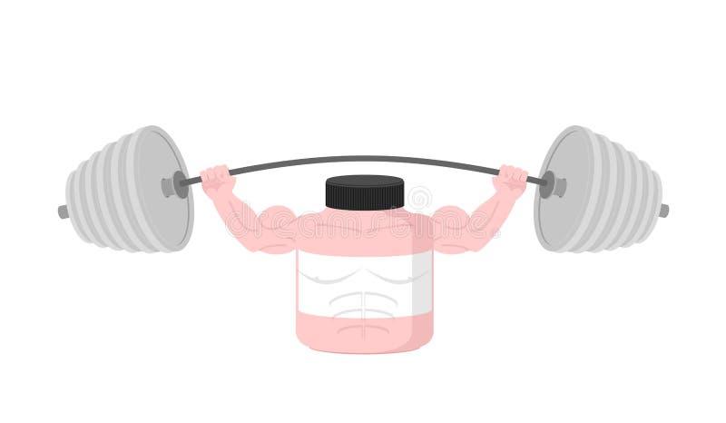 Barbell aéreo da imprensa cor-de-rosa da nutrição dos esportes do recipiente Vetor ilustração do vetor