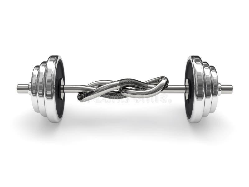 Barbell atado do peso (conceito do poder) ilustração do vetor