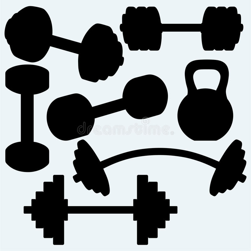 Barbell, barbell i kettlebell, ilustracja wektor