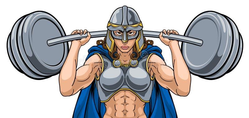 Barbell de elevación del Weightlifter de la mujer del guerrero libre illustration