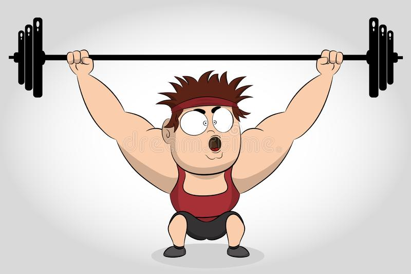 Barbell de levage de Bodybuilder weightlifter Sportif fort de bodybuilder soulevant le barbell lourd au-dessus de sa t?te illustration de vecteur