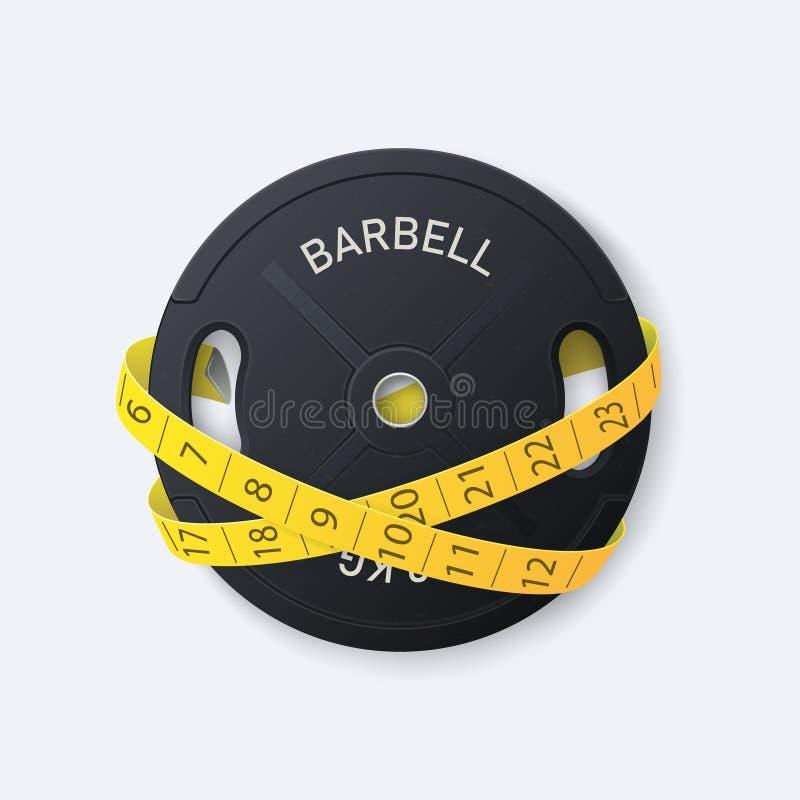 barbell Discos para un barbell pesado con la cinta métrica Equipo para el gimnasio libre illustration