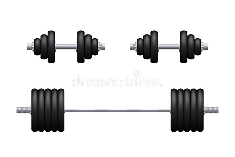Barbell and dumbbells isolated. Illustration of pair black iron dumbbells and barbell on white background vector illustration