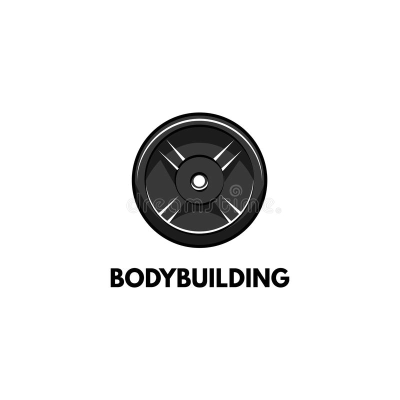Barbell dyska ikona Bodybuilding loga etykietka Sporta szkolenie, sprawność fizyczna Talerzowy ciężar wektor ilustracji