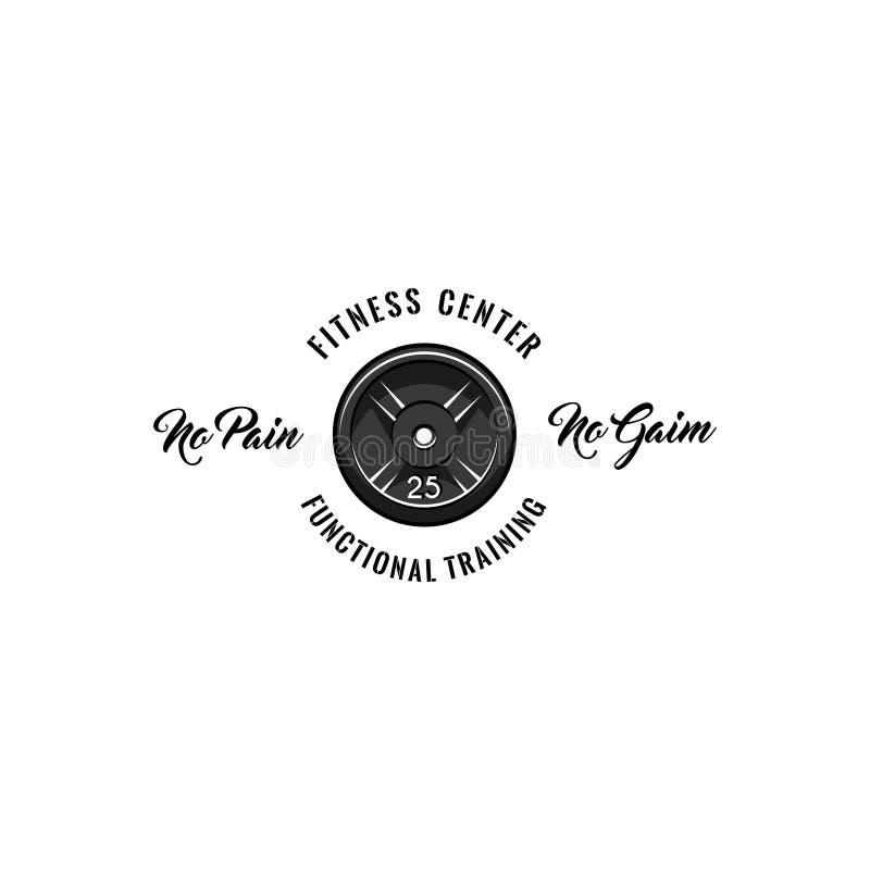 Barbell dyska ikona Sprawności fizycznej centrum logo Bodybuilding etykietka Żadny ból żadny zysku literowanie Sporta szkolenie T royalty ilustracja