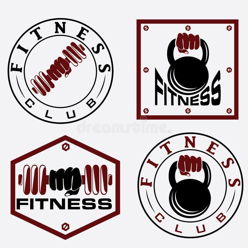 barbell e kettlebell nos emblemas da aptidão ilustração royalty free