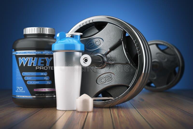 Barbell en weiproteïneschudbeker Sporten die supplementen bodybuilding vector illustratie