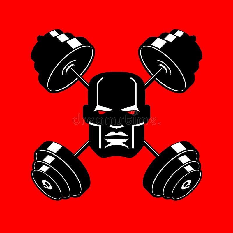 Barbell Gekruist embleem voor gymnastiek hoofd van bodybuilderteken sporten royalty-vrije illustratie