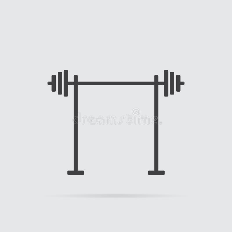 Barbell icon in flat style isolated on grey background vector illustration