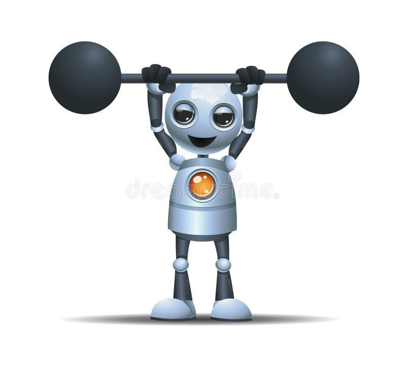 barbell lourd de petit ascenseur de robot illustration de vecteur