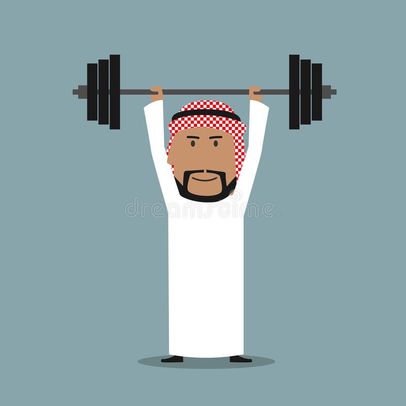 Barbell lourd soulevé par homme d'affaires Arabe fort illustration de vecteur