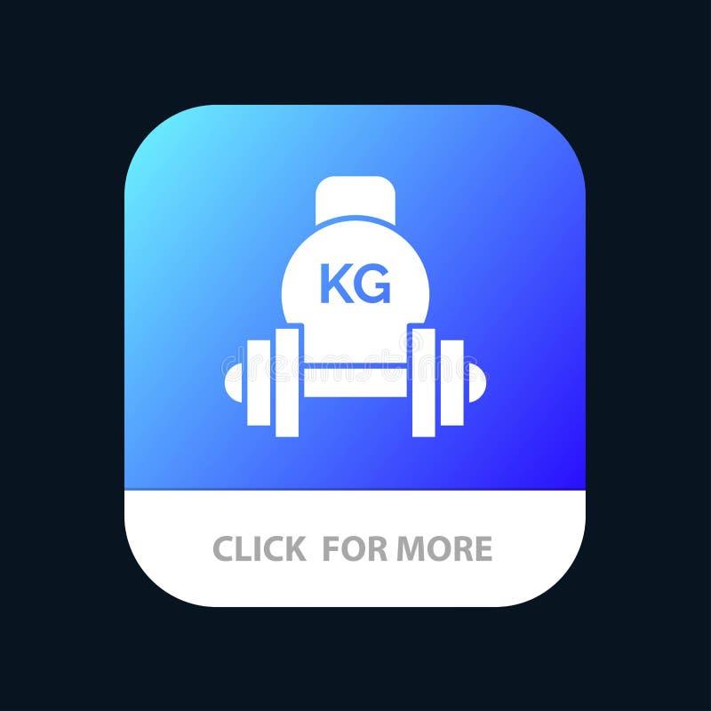 Barbell, pesa de gimnasia, equipo, campana de la caldera, botón móvil del App del peso Android y versión del Glyph del IOS stock de ilustración