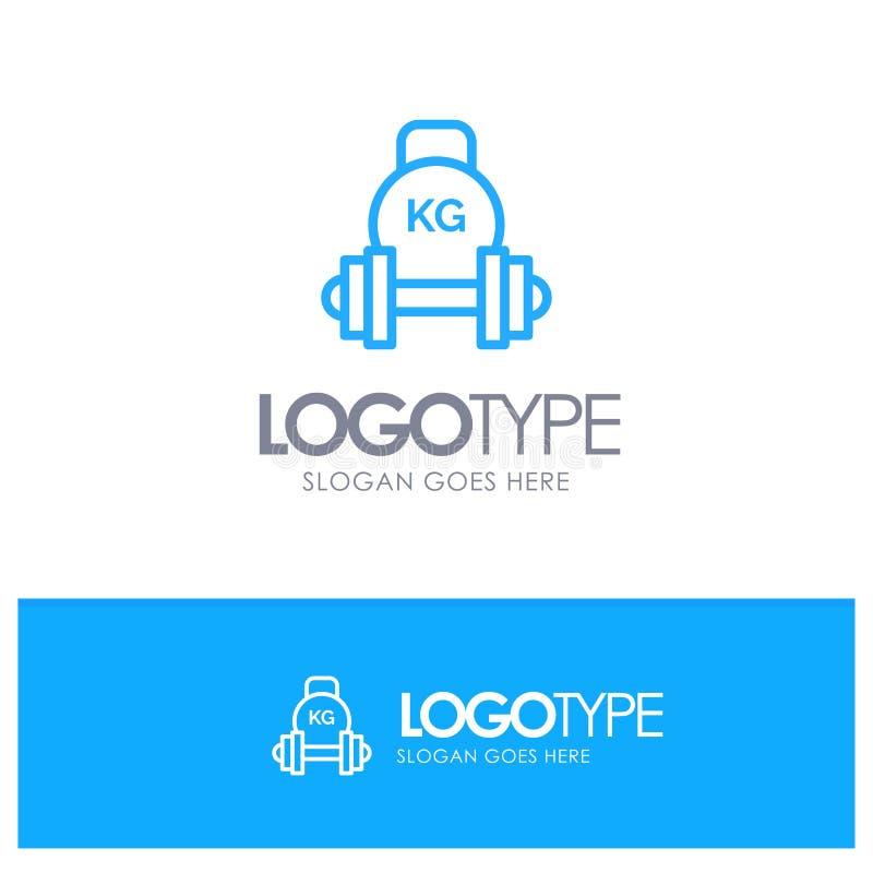 Barbell, peso, equipamento, sino da chaleira, logotipo azul do esboço do peso com lugar para o tagline ilustração royalty free